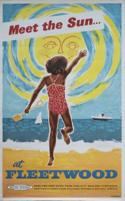 Poster BR(M) MEET THE SUN AT FLEETWOOD by Studio Seven. Double Royal 25in x 40in. In good