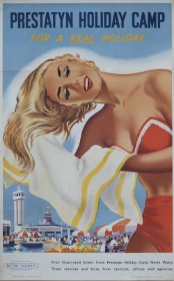 Poster BR(M) PRESTATYN HOLIDAY CAMP FOR A REAL HOLIDAY by John Kenney. Double Royal 25in x 40in.