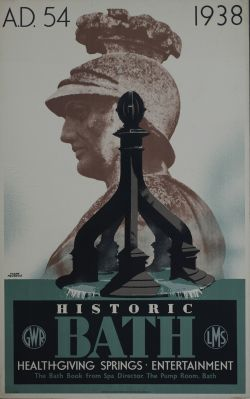 Poster GWR/LMS HISTORIC BATH HEALTH GIVING SPRINGS. ENTERTAINMENT by Frank Newbould. Double Royal