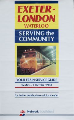 Poster NSE EXETER LONDON WATERLOO SERVING THE COMMUNITY, dated 1988, with image of Class 50
