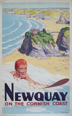 Poster BR(W) NEWQUAY ON THE CORNISH COAST by Harry Riley. Double Royal 25in x 40in. In good