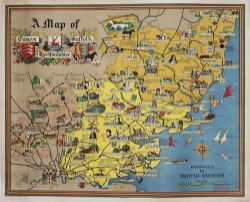 Poster BR(E) A MAP OF ESSEX HERTFORDSHIRE AND SUFFOLK. Quad Royal 50in x 40in. In excellent