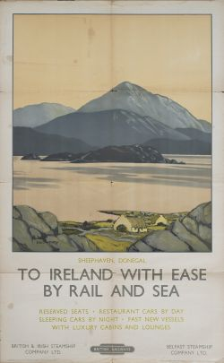 Poster BR(M) TO IRELAND WITH EASE BY RAIL AND SEA SHEEPHAVEN DONEGAL by Paul Hendry. Double Royal