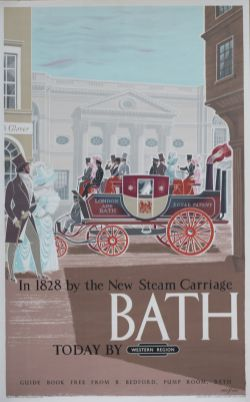 Poster BR(W) BATH IN 1828 BY THE NEW STEAM CARRIAGE TODAY BY BRITISH RAIL by Eric Fraser. Double