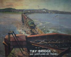 Poster BR(SC) TAY BRIDGE SEE SCOTLAND BY TRAIN by Terence Cuneo. Quad Royal 40in x 50in. In good