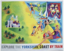 Poster BR(NE) EXPLORE THE YORKSHIRE COAST BY TRAIN by R. Lander. Quad Royal 50in x 40in. In very