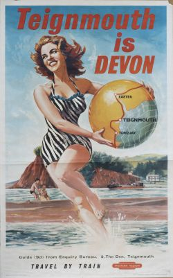 Poster BR(W) TEIGNMOUTH IS DEVON by Glenn Steward. Double Royal 25in x 40in. In good condition