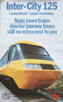Poster BR INTER CITY 125 with image of HST Power Car 253008, issued in 1977, the Queens Silver