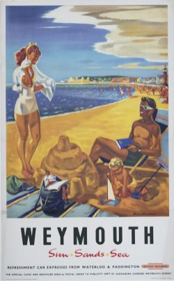 Poster BR(S) WEYMOUTH SUN SANDS SEA by Dobson Broadhead. Double Royal 25in x 40in. In very good