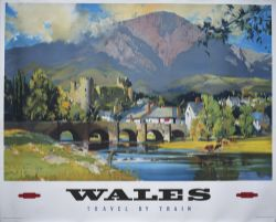 Poster BR(W) WALES TRAVEL BY TRAIN by Wooton. Quad Royal 50in x 40in. In excellent condition