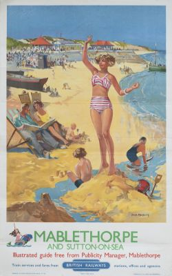 Poster BR(E) MABLETHORPE AND SUTTON-ON-SEA by Jack Merriott. Double Royal 25in x 40in. In very