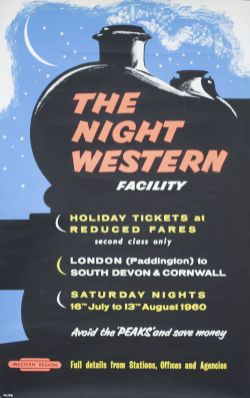 Poster BR(W) THE NIGHT WESTERN FACILITY AVOID THE PEAKS AND SAVE MONEY issued by the Western