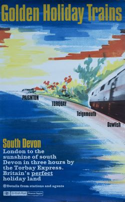 Poster BR(W) GOLDEN HOLIDAY TRAINS PAIGNTON TORQUAY TEIGNMOUTH DAWLISH. Double Royal 25in x 40in. In
