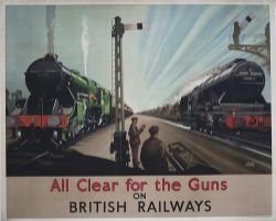 Poster BIG 4 WW2 ALL CLEAR FOR THE GUNS ON BRITISH RAILWAYS by Leslie Carr. Quad Royal 50in x