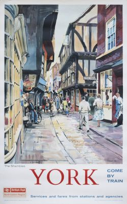 Poster BR(NE) YORK THE SHAMBLES by A. Carr Linford. Double Royal 25in x 40in. In excellent