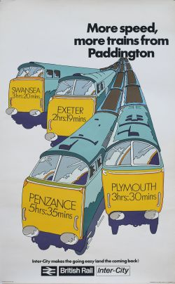 Poster BR MORE SPEED MORE TRAINS FROM PADDINGTON with image of four Western Diesel Hydraulic