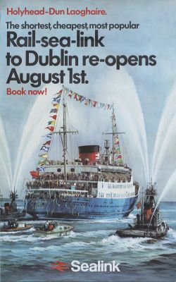 Poster BR HOLYHEAD - DUN LOAGHAIRE by Michael Turner, issued in 1971. Double Royal 25in x 40in. In