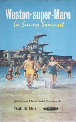 Poster BR(W) WESTON-SUPER-MARE IN SUNNY SOMERSET published by the Western Region in 1961. Double