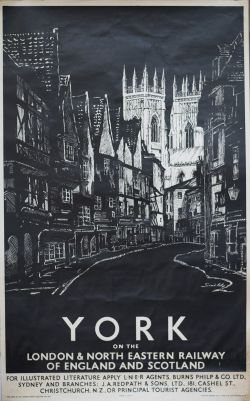 Poster LNER YORK ON THE LONDON & NORTH EASTERN RAILWAY OF ENGLAND AND SCOTLAND by Schabalasky.