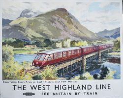 Poster BR(SC) THE WEST HIGHLAND LINE OBSERVATION COACH TRAIN AT LOCHY VIADUCT FORT WILLIAM by Jack