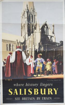 Poster BR(S) WHERE HISTORY LINGERS SALISBURY VISIT OF KING CHARLES II 1651 by Claude Buckle.