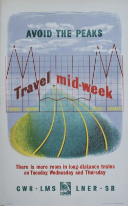 Poster GWR LMS LNER SR AVOID THE PEAKS TRAVEL MID WEEK by Sav 1946. Double Royal 25in x 40in. In