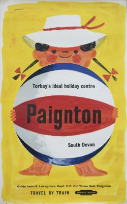 Poster BR(W) PAIGNTON TORBAY'S IDEAL HOLIDAY CENTRE by Eckersley. Double Royal 25in x 40in. In