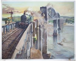 Poster BR(W) ROYAL ALBERT BRIDGE SALTASH by Terence Cuneo. Quad Royal 40in x 50in. In excellent