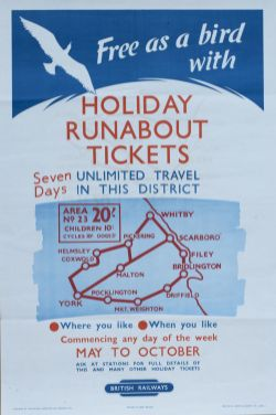 Poster BR(NE) FREE AS A BIRD WITH HOLIDAY RUNABOUT TICKETS, WHITBY, YORK, SCARBOROUGH, BRIDLINGTON