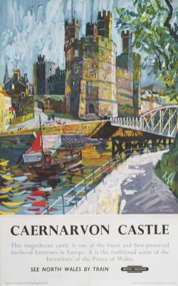 Poster BR(M) CAERNARVON CASTLE by Hugh Chevins. Double Royal 25in x 40in. In very good condition,