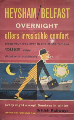 Poster BR(M) HEYSHAM / BELFAST OVERNIGHT OFFERS IRRESISTIBLE COMFORT. Double Royal 25in x 40in. In