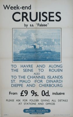 Poster BR(S) WEEKEND CRUISES BY SS FALAISE TO HAVRE AND ALONG THE SEINE TO ROUEN. Double Royal