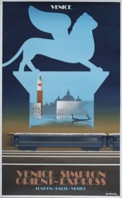 Poster VSOE VENICE SIMPLON ORIENT EXPRESS by Fix Masseau 1979. Double Royal 25in x 40in. In