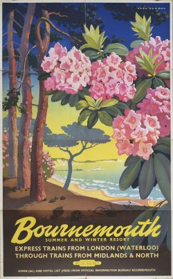 Poster BR(S) BOURNEMOUTH SUMMER AND WINTER RESORT by Alan Durman. Double Royal 25in x 40in. In