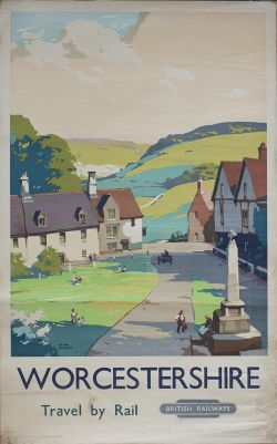 Poster BR(W) WORCESTERSHIRE TRAVEL BY RAIL by Frank Sherwin. Double Royal 25in x 40in. In good