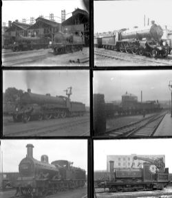 50 large format glass negatives. Taken in 1925 and 1927 includes LSWR/SR, MR and LNWR at Barnstaple,