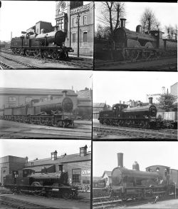 50 large format mostly glass. Includes LSWR and MR taken in 1922 at Wadebridge, Nine Elms,
