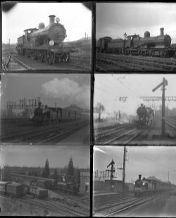 50 large format glass negatives. Taken in 1925 includes LSWR and GWR at Clapham, Reading, Dorking
