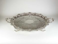 An impressive Victorian two handled silver tray