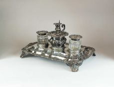An impressive William IV silver inkstand