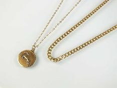 A 9ct gold flat curb link necklace