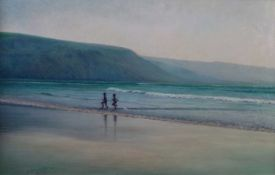 Denby Sweeting (British 1936-2020), Children Playing in the Surf
