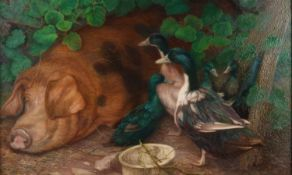 Denby Sweeting (British 1936-2020) Pig and Ducks