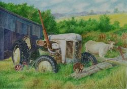 Denby Sweeting (British 1936-2020), Tractor and Farm Animals