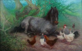 Denby Sweeting (British 1936-2020), Pony and Hens