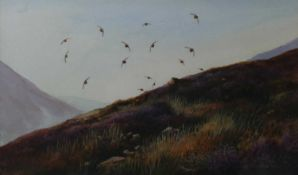 Berrisford Hill (British 20th Century), Birds flying over heather topped hills
