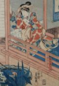 Japanese Woodblock Print of an Actress leaning on a balcony