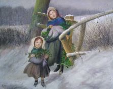 Clifton (British 20th Century), Children Carrying Holly in the Snow