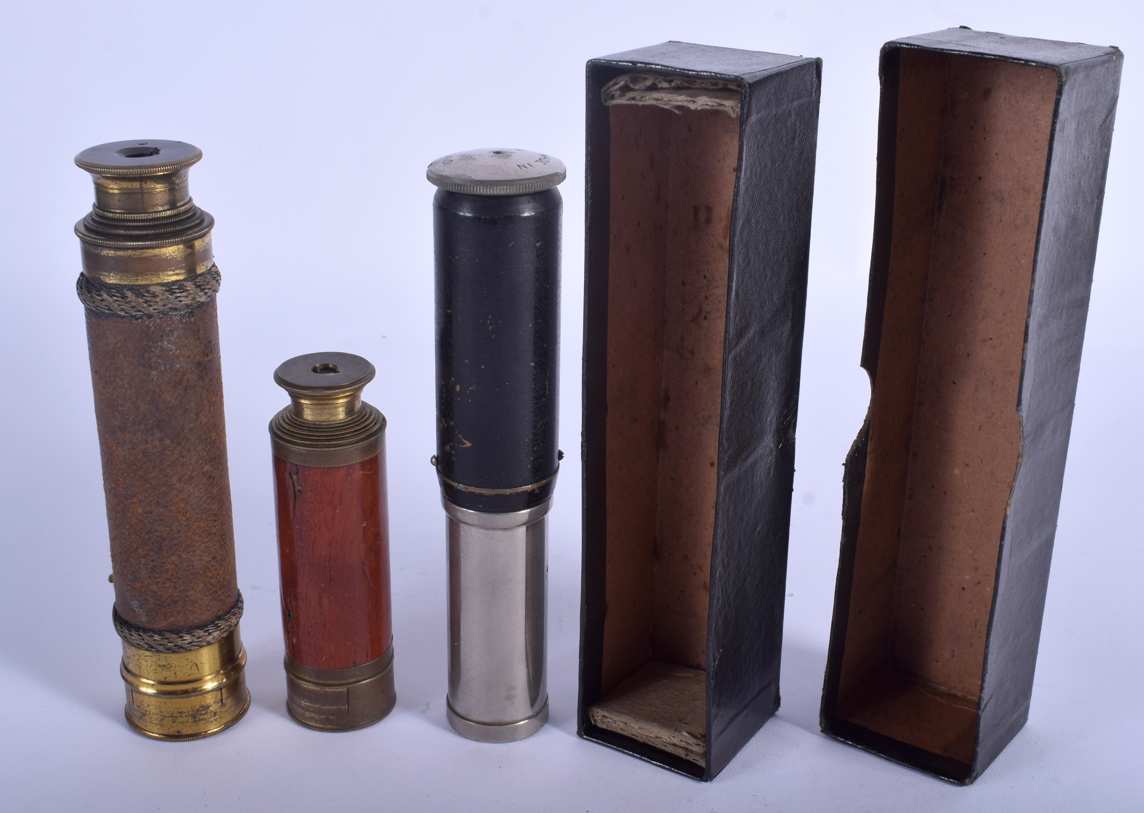 Lot 629 - AN ANTIQUE IRISH SPEAR OF DUBLIN MINIATURE TELESCOPE together with two others. (3)