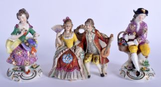 THREE EARLY 20TH CONTINENTAL PORCELAIN FIGURES in various forms and sizes. Largest 13 cm x 11 cm. (